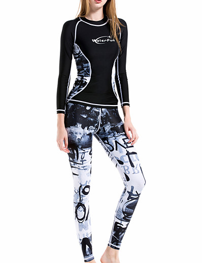 cheap Rash Guards-ZCCO Women's Rash Guard Dive Skin Suit Diving Suit UV Sun Protection Quick Dry Breathable Long Sleeve 2 Piece - Swimming Surfing Snorkeling Patchwork Autumn / Fall Winter Spring / Summer