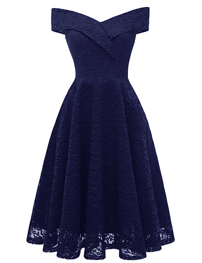 cheap Party Dresses-A-Line Hot Blue Holiday Cocktail Party Dress Off Shoulder Short Sleeve Knee Length Lace with Pleats Lace Insert 2020