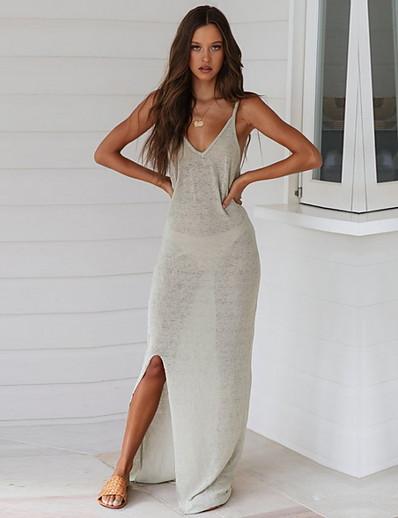 cheap Casual Dresses-Women's Elegant Sheath Dress - Solid Colored White Gray M L XL
