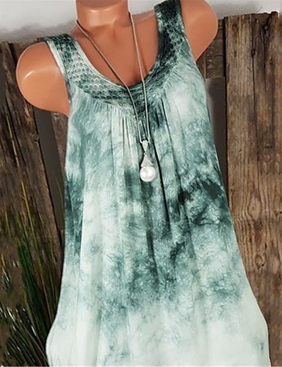 cheap TOPS-Women's Boho / Street chic Tank Top - Tie Dye Lace / Patchwork V Neck Red