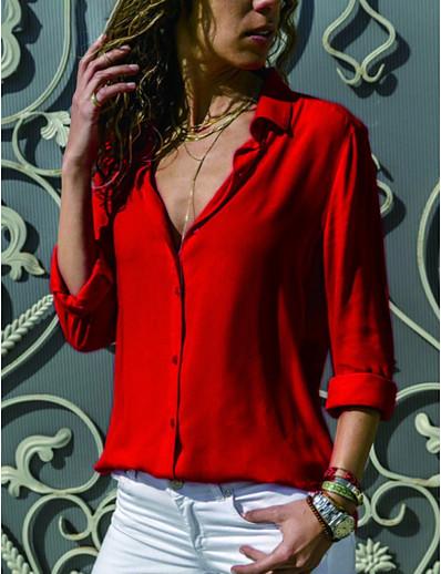 cheap TOPS-Women's Shirt - Solid Colored Shirt Collar Black