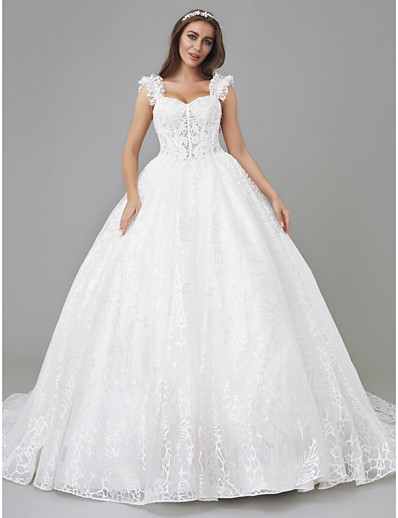 1481cab230e ADOR Princess Square Neck Court Train Lace   Tulle Made-To-Measure Wedding  Dresses with Appliques   Lace Insert   See-Through