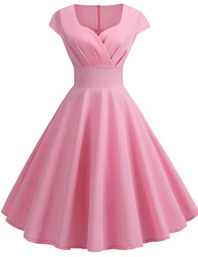 cheap DRESSES-Women's Going out Vintage 1950s Swing Dress - Solid Colored V Neck Summer Black Wine Blushing Pink S M L XL
