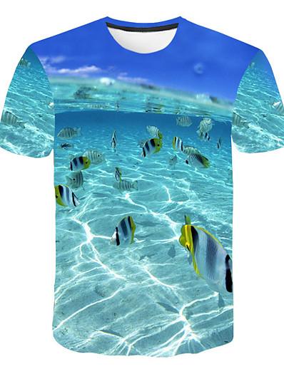 abordables Hommes 3D-Homme T shirt Graphique Paysage Grandes Tailles Hauts Bleu