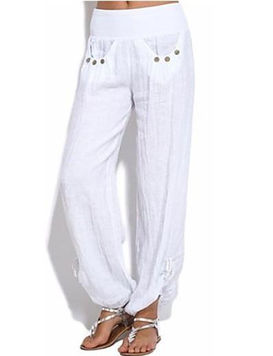cheap SALE-Women's Boho Plus Size Loose Chinos Pants - Solid Colored Split / Patchwork High Waist Army Green Khaki White S M L