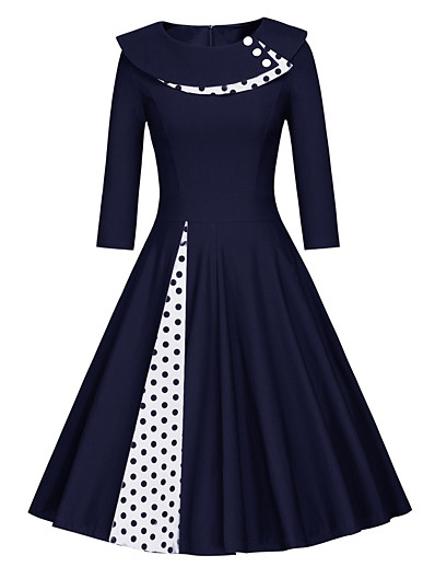 cheap Vintage Dresses-Women's Vintage Swing Dress - Solid Colored Patchwork Black Navy Blue L XL XXL