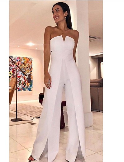 cheap JUMPSUITS & ROMPERS-Women's White Slim Jumpsuit Solid Colored Split Fashion Off Shoulder / Wide Leg