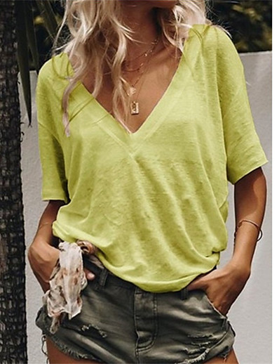 cheap Tees & T Shirts-Women's T-shirt Solid Colored V Neck Tops Loose Cotton Basic Top Yellow Orange Green