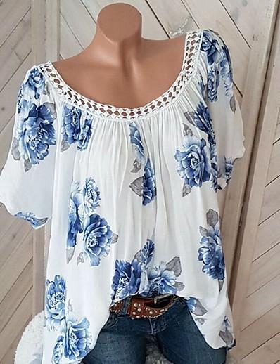 cheap TOPS-Women's Plus Size T-shirt - Floral Print White