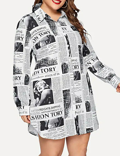cheap Plus Size Dresses-Women's Plus Size Shirt Dress - Long Sleeve Geometric Print Shirt Collar Street chic White XL XXL XXXL XXXXL