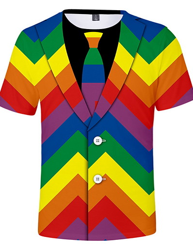 cheap SALE-Men's Daily Wear T-shirt - Color Block Round Neck Rainbow / Short Sleeve