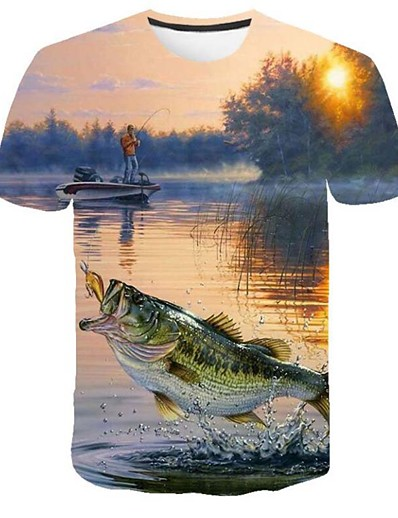 cheap Men's 3D-Men's T shirt Shirt Graphic 3D Plus Size Print Short Sleeve Casual Tops Round Neck Blue / Summer