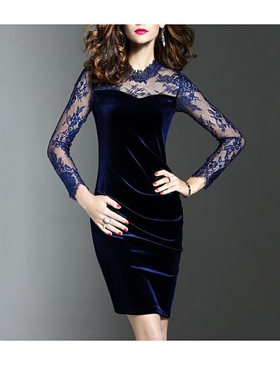 cheap Elegant Dresses-Women's Velvet Plus Size Party Going out Elegant Sheath Dress - Solid Colored Black, Lace Spring Blue Black XL XXL XXXL / Slim