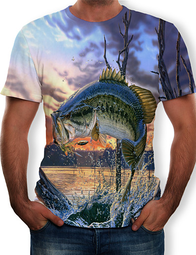 cheap Men's 3D-Men's T shirt Graphic Scenery Animal Plus Size Print Short Sleeve Daily Tops Streetwear Exaggerated Round Neck Light Blue / Summer