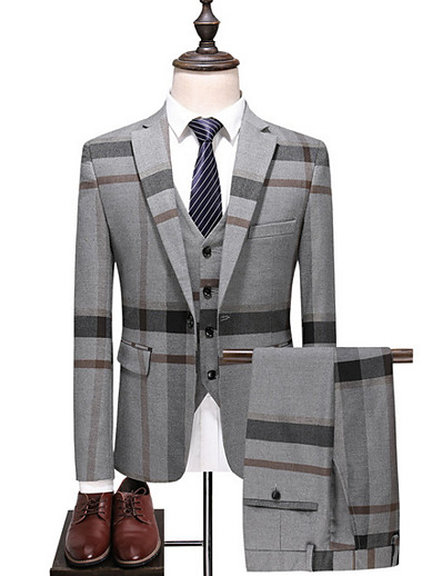 cheap Men's Outerwear-Men's Suits Striped Color Block Plus Size Blue / Gray M / L / XL / Slim