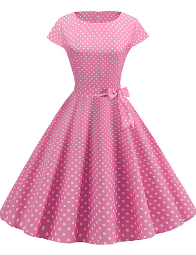 cheap Vintage Dresses-Women's Vintage A Line Dress Print Blushing Pink L XL XXL