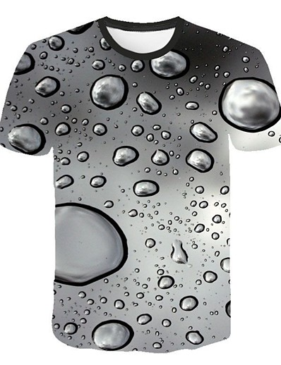 cheap Men's 3D-Men's T shirt Shirt Geometric 3D Plus Size Short Sleeve Casual Slim Tops Streetwear Punk & Gothic Round Neck White