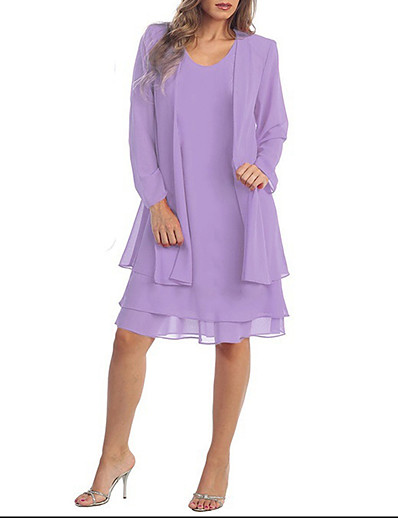 cheap Plus Size Dresses-Women's 2020 Plus Size Purple Dress Summer Casual Two Piece Solid Colored S M / Belt Not Included