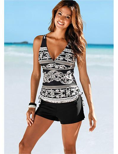 cheap Tankinis-Women's Basic Black Triangle High Waist Tankini Swimwear Swimsuit - Striped S M L Black
