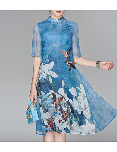cheap Mother Dresses-Women's Floral Purple Light Blue Dress Chinese Style Summer Going out Chiffon Floral Stand Print L XL