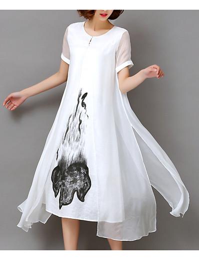 cheap Mother Dresses-Women's Plus Size Going out Loose Chiffon Dress - Floral White, Print Summer White Black XXXL XXXXL XXXXXL