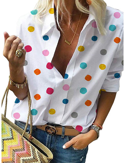 cheap Best Sellers-Women's Casual Street Street chic Plus Size Shirt - Polka Dot Print Shirt Collar White