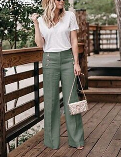 cheap Pants & Skirts-Women's Basic Wide Leg Pants - Solid Colored Linen Beige Navy Blue Khaki XL XXL XXXL