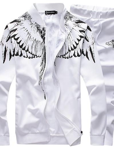 cheap NEW IN-Men's 2-Piece Tracksuit Sweatsuit Jogging Suit Casual Winter Breathable Running Walking Jogging Sportswear Phoenix Plus Size Jacket and Sweatpants Athleisure Wear Clothing Suit White Black Dark Blue