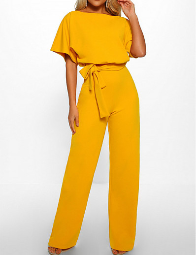 cheap Jumpsuits & Rompers-Women's Daily / Going out Elegant Black Blushing Pink Yellow Jumpsuit Onesie, Solid Colored Drawstring S M L Short Sleeve Summer