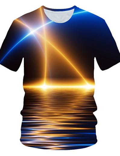 رخيصةأون 3D للرجال-رجالي تي شيرت الرسم منظر طباعة كم قصير مناسب للبس اليومي قمم أناقة الشارع مبالغ فيه أزرق البحرية