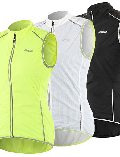 cheap Cycling-Arsuxeo Women's Cycling Vest White Black Green Solid Color Bike Windproof UV Resistant Quick Dry Sports Solid Color Mountain Bike MTB Road Bike Cycling Clothing Apparel / Athletic