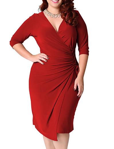 cheap Plus Size Dresses-Women's Plus Size Wrap Dress Cotton Knee Length Dress - Half Sleeve V Neck Cotton Black Blue Red Green L XL XXL XXXL XXXXL XXXXXL