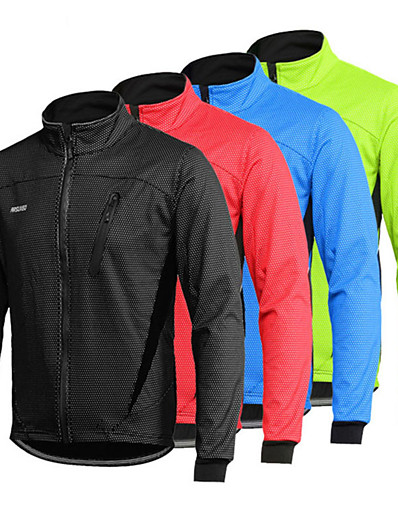 cheap SPORTSWEAR-Arsuxeo Men's Long Sleeve Cycling Jacket Winter Spandex Black Red Light Green Bike Thermal Warm Windproof Breathable Anatomic Design Waterproof Zipper Sports Mountain Bike MTB Road Bike Cycling