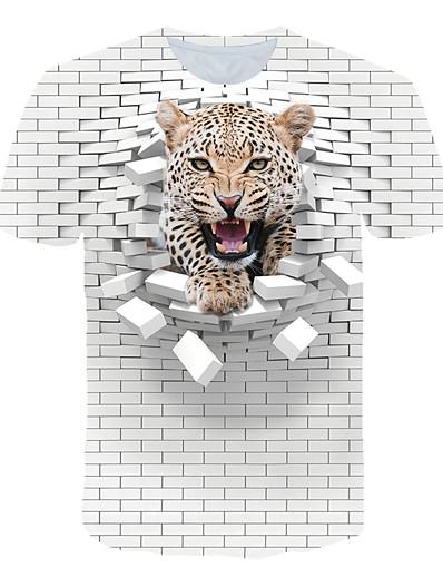 cheap Men's 3D-Men's T shirt Color Block 3D Animal Print Short Sleeve Club Tops Streetwear Exaggerated White