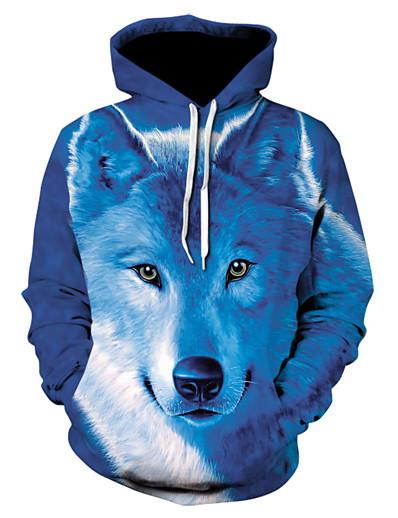 cheap Men's 3D-Men's Hoodie Jacket 3D Animal Hooded Basic Hoodies Sweatshirts  Royal Blue