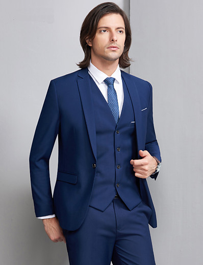 cheap Tuxedos & Suits-Tuxedos Slim Fit Notch Single Breasted One-button Polyester / Cotton Blend Solid Colored / Classic