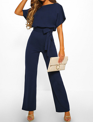 cheap Jumpsuits & Rompers-Women's Casual Elegant Daily Going out Black Blue Red Jumpsuit Solid Colored Drawstring Cotton