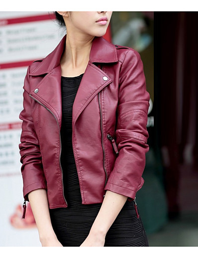 cheap Furs & Leathers-Women's Daily / Going out / Work Street chic / Punk & Gothic Spring / Fall Short Leather Jacket, Solid Colored Shirt Collar Long Sleeve PU Black / Wine