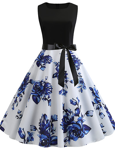 cheap Vintage Dresses-Women's Vintage A Line Dress - Floral Patchwork Print Blue L XL XXL