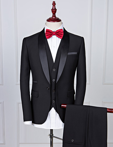 cheap Tuxedos & Suits-Tuxedos Standard Fit Shawl Collar Single Breasted One-button Polyester Solid Colored