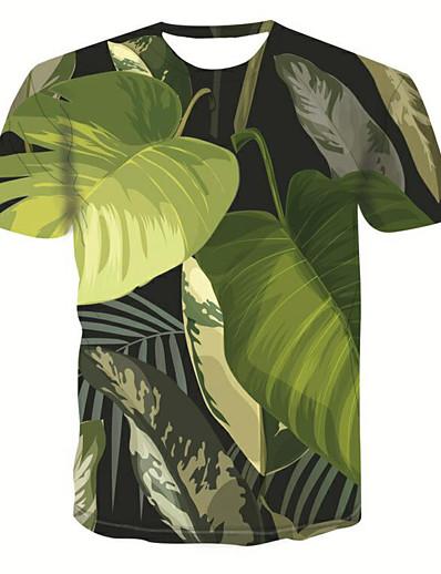 cheap TOPS-Women's Daily Basic T-shirt - 3D Tropical Leaf, Print Green