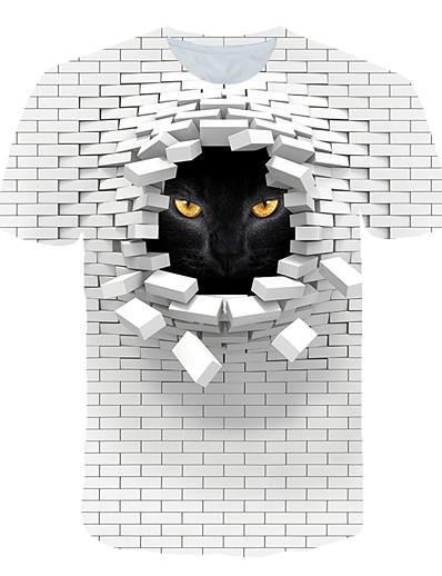 cheap Men's 3D-Men's T shirt Graphic 3D Animal Print Short Sleeve Club Tops Streetwear Exaggerated White