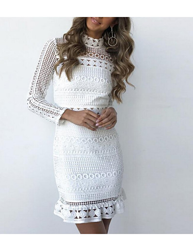 cheap Casual Dresses-Women's Bodycon Short Mini Dress - Long Sleeve White Solid Colored Spring Summer Stand Collar Basic Cotton Slim Lace White S M L XL
