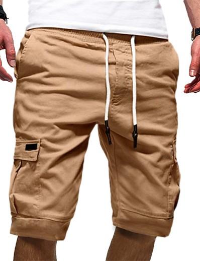 cheap Men's Bottoms-Men's Basic Cotton Chinos Shorts Pants Solid Colored White Black Khaki S M L