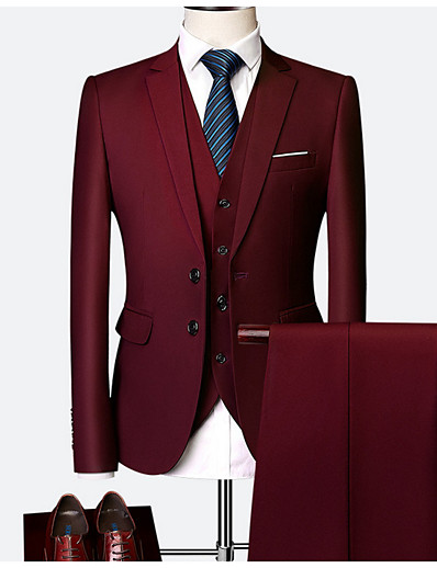 cheap Men's Outerwear-Men's Burgundy Suits, Solid Colored Polyester Wine / Light Blue / Royal Blue