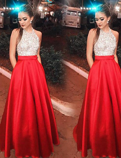 cheap Special Occasion Dresses-A-Line Halter Neck Floor Length Satin / Sequined Open Back / Elegant Prom / Holiday Dress 2020 with