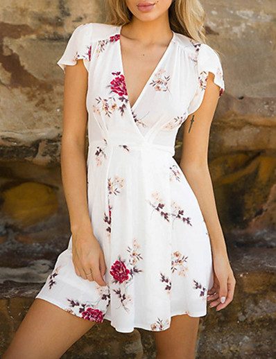 cheap DRESSES-Women's Wrap Dress Short Mini Dress - Short Sleeve Floral Print Summer V Neck 2020 White Red S M L XL
