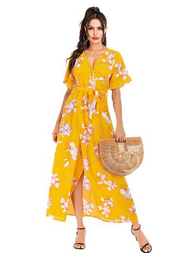 cheap Summer Dresses & Boho-Women's Basic Street chic Swing Dress - Floral Geometric Print Yellow S M L XL