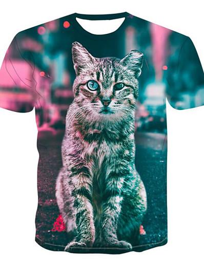 cheap TOPS-Women's Daily Basic T-shirt - 3D / Animal Cat, Print Rainbow