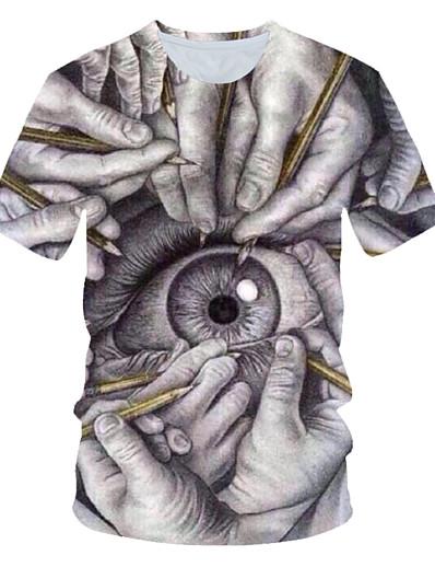 cheap Men's 3D-Men's T shirt Eye Print Short Sleeve Daily Wear Tops Streetwear Exaggerated Gray